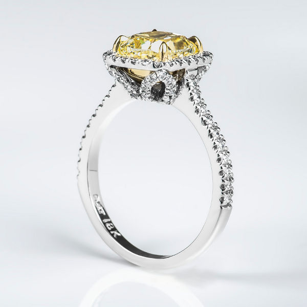 Cushion Halo Fancy Light Yellow Diamond Engagement Ring, 2.43 t.w, VS1 - B