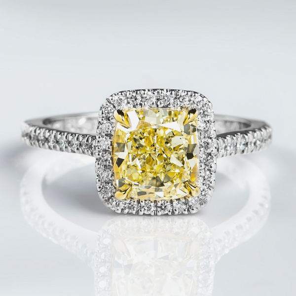 Cushion Halo Fancy Light Yellow Diamond Engagement Ring, 2.43 t.w, VS1