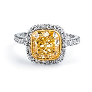Fancy Light Yellow Diamond Ring, Cushion, 3.01 carat, SI1 - Thumbnail