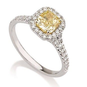 Halo Fancy Yellow Diamond Engagement Ring, 1.30 ctw