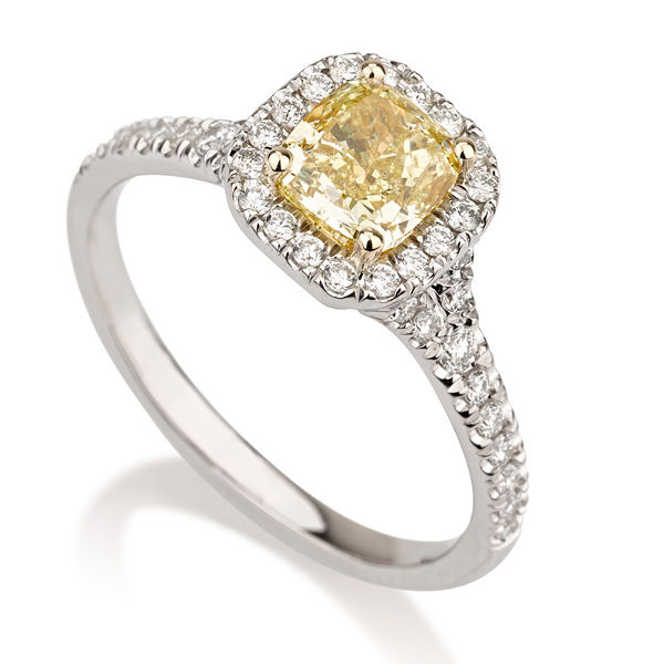 Cushion Halo Fancy Yellow Diamond Engagement Ring, 1.30 t.w, VVS2 - B