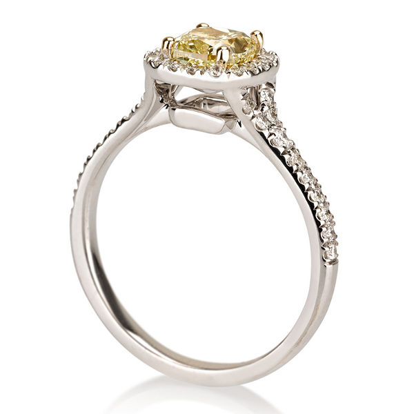 Cushion Halo Fancy Yellow Diamond Engagement Ring, 1.30 t.w, VVS2 - C