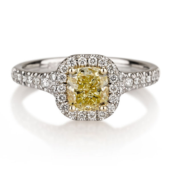 Cushion Halo Fancy Yellow Diamond Engagement Ring, 1.30 t.w, VVS2