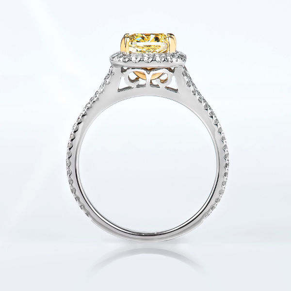 Cushion Halo Fancy Yellow Diamond Engagement Ring, 2.44 t.w, VVS2 - B