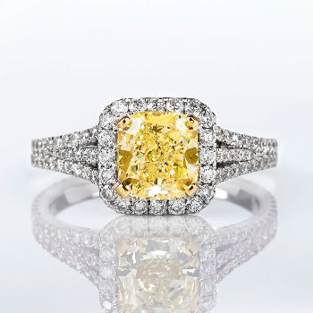 Fancy Yellow Diamond Ring, Cushion, 1.60 carat, VVS2 - Thumbnail