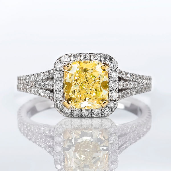 Cushion Halo Fancy Yellow Diamond Engagement Ring 2 44 t w VVS2