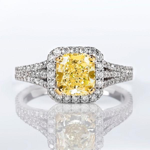 Fancy Yellow Diamond, Cushion, 1.60 carat, VVS2