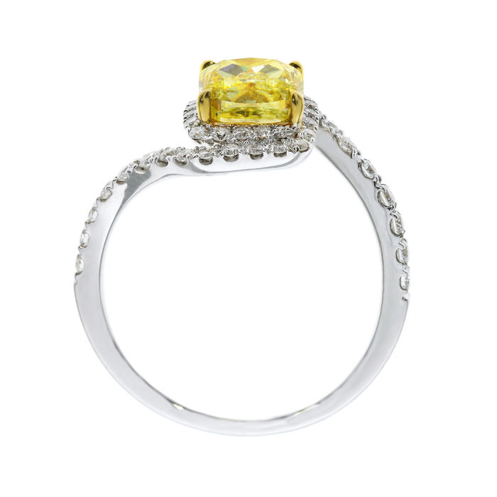 Fancy Yellow Diamond Ring, Cushion, 1.54 carat, SI2 - B