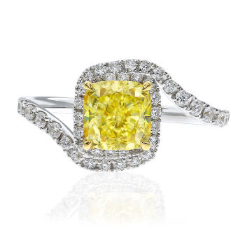 Fancy Yellow Diamond Ring, Cushion, 1.54 carat, SI2 - Thumbnail