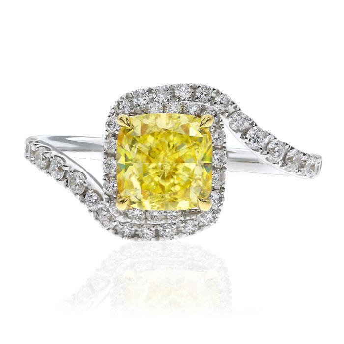 Fancy Yellow Diamond Ring, Cushion, 1.54 carat, SI2