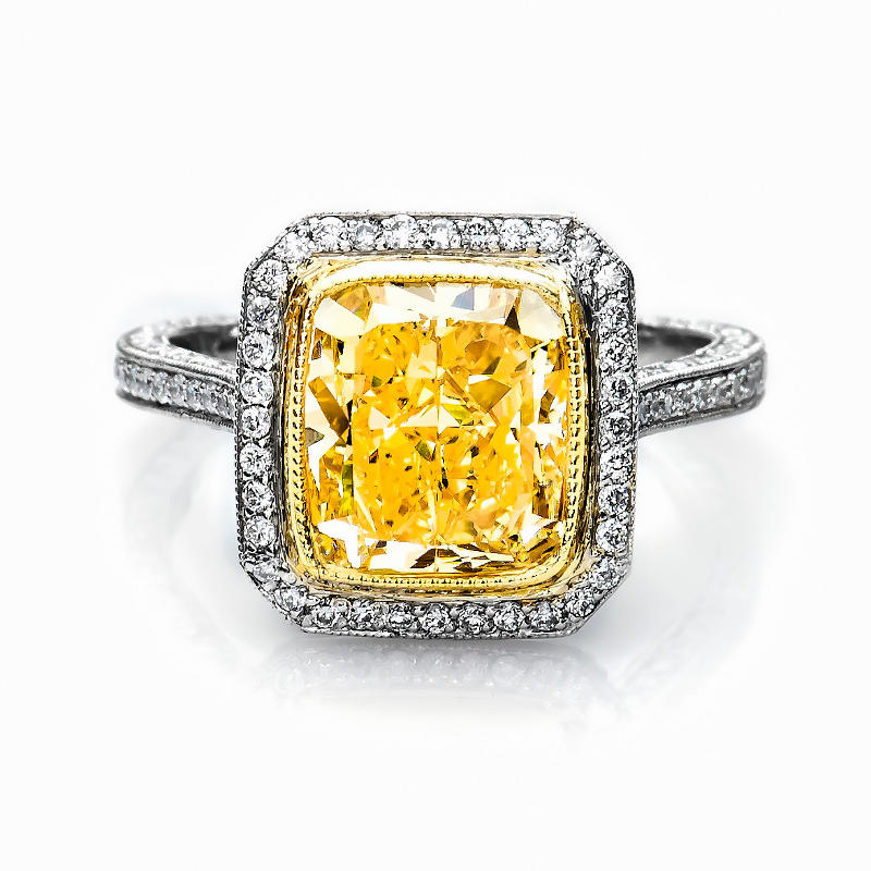 canary rings yellow engagement diamond
