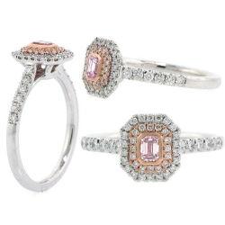 Double Halo Argyle Pink Diamond Engagement Ring, 0.53 t.w