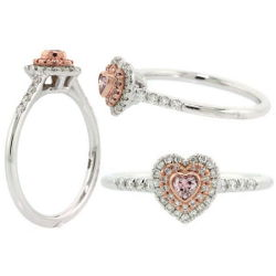 Double Halo Argyle Pink Diamond Engagement Ring, 0.31 ctw