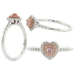 Double Halo Argyle Pink Diamond Engagement Ring, 0.31 t.w