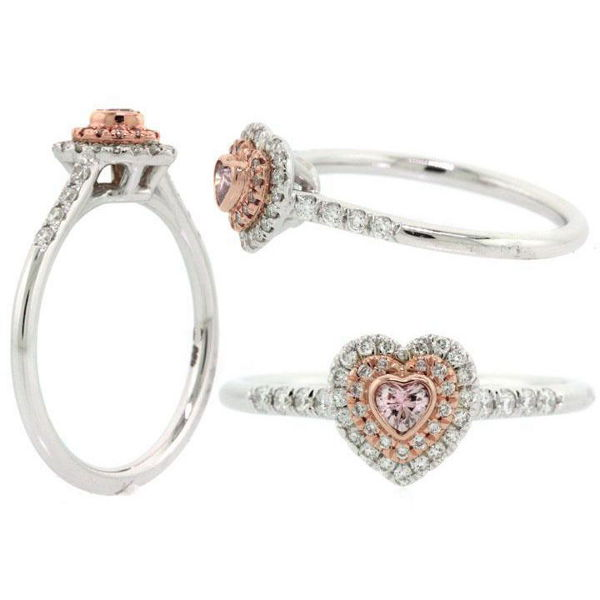 Heart Double Halo Argyle Pink Diamond Engagement Ring, 0.31 t.w, SI1