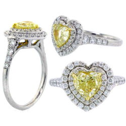Double Halo Fancy Yellow Diamond Engagement Ring, 1.57 t.w