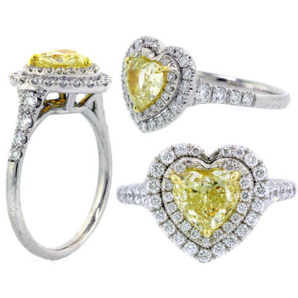 Fancy Yellow Diamond Ring, Heart, 1.01 carat, SI2