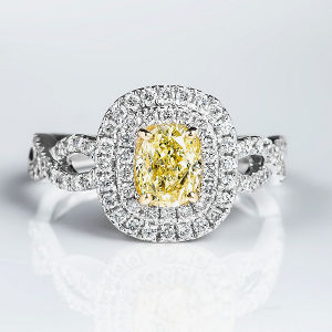 Double Halo Fancy Light Yellow Diamond Engagement Ring, 1.62 ctw