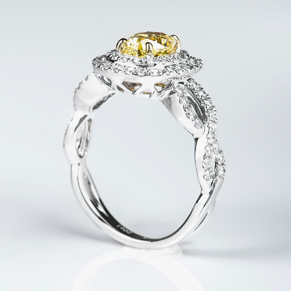 Oval Double Halo Fancy Light Yellow Diamond Engagement Ring, 1.62 t.w, VS2 - B
