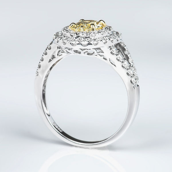 Oval Double Halo Fancy Light Yellow Diamond Engagement Ring, 1.76 t.w, VS1 - B