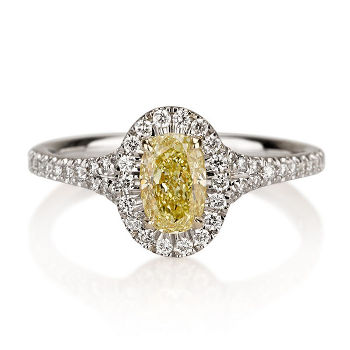 Halo Fancy Yellow Diamond Engagement Ring, 0.97 ctw