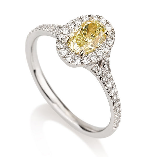 Oval Halo Fancy Yellow Diamond Engagement Ring, 0.97 t.w, VVS2 - B