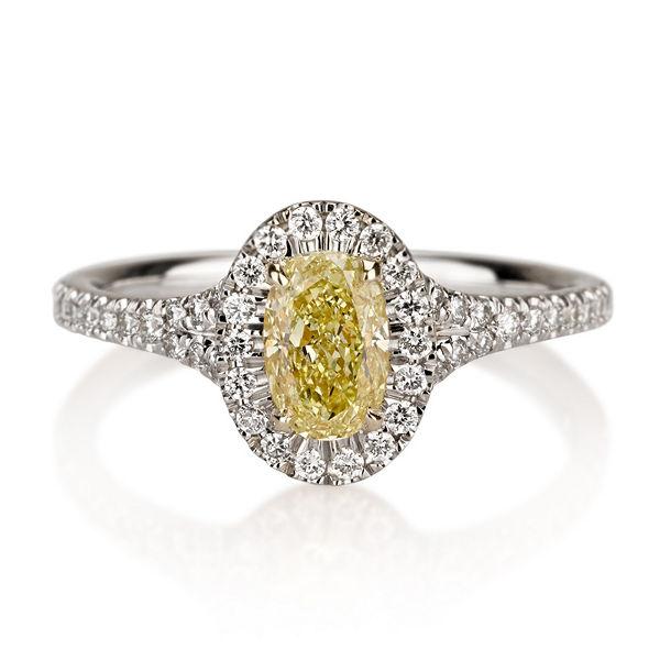 Halo Fancy Yellow Diamond Engagement Ring 097 Ctw