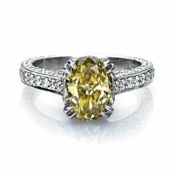 Fancy Dark Brown Greenish Yellow Chameleon Diamond Ring, Oval, 2.01 carat - Thumbnail