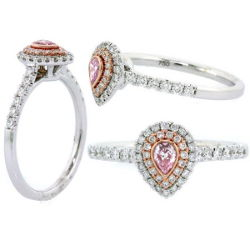 Double Halo Argyle Purplish Pink Diamond Engagement Ring, 0.45 t.w