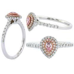 Double Halo Argyle Purplish Pink Diamond Engagement Ring, 0.45 t.w