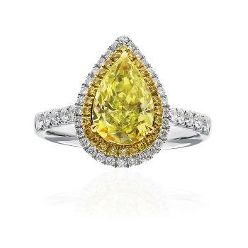 Fancy Light Yellow Diamond Ring, Pear, 1.64 carat - Thumbnail