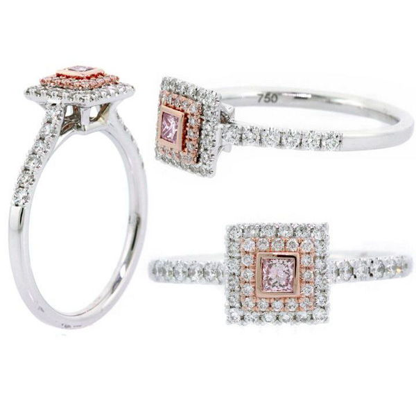 Princess Double Halo Argyle Pink Diamond Engagement Ring, 0.44 t.w, SI1