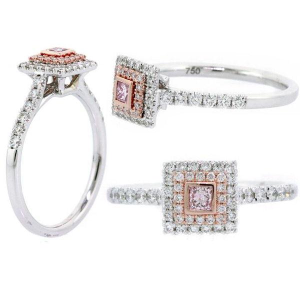 Argyle Pink Diamond Ring, Princess, 0.08 carat, SI1