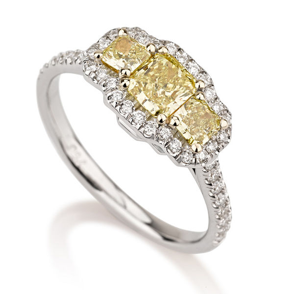 Radiant 3 stone fancy intense yellow diamond engagement for Colored diamond wedding ring