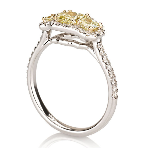 Radiant 3 Stone Fancy Intense Yellow Diamond Engagement Ring, 1.02 t.w, VS2 - C