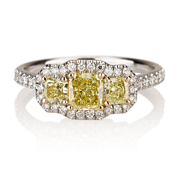 Radiant 3 Stone Fancy Intense Yellow Diamond Engagement Ring, 1.02 t.w, VS2