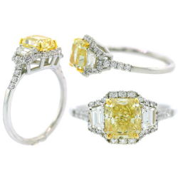 3 Stone Fancy Light Yellow Diamond Engagement Ring, 1.88 t.w