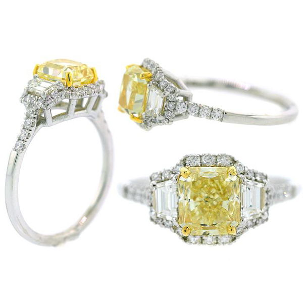 Radiant 3 Stone Fancy Light Yellow Diamond Engagement Ring, 1.88 t.w, VS1