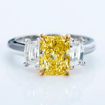 3 Stone Fancy Light Yellow Diamond Engagement Ring, 2.77 ctw