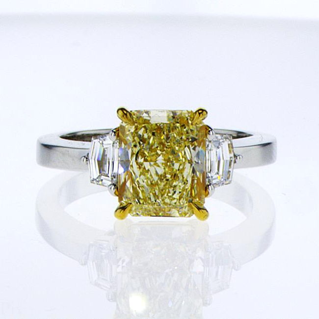 3 Stone Fancy Light Yellow Diamond Engagement Ring, 2.85 Ctw