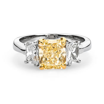 Fancy Light Yellow Diamond Ring, Radiant, 2.05 carat, SI1 - Thumbnail
