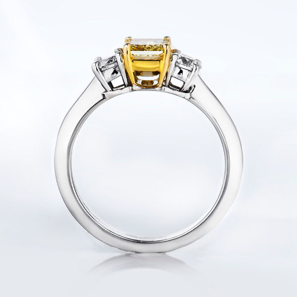 Radiant 3 Stone Fancy Yellow Diamond Engagement Ring, 1.21 t.w, SI1 - B