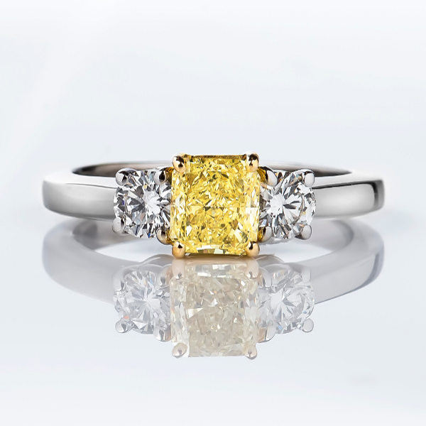 Radiant 3 Stone Fancy Yellow Diamond Engagement Ring, 1.21 t.w, SI1
