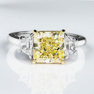 3 Stone Fancy Yellow Diamond Engagement Ring, 3.63 ctw