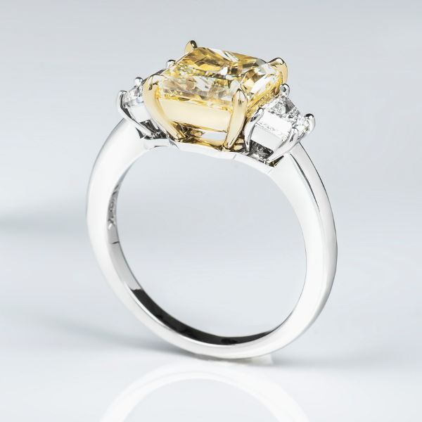 Radiant 3 Stone Fancy Yellow Diamond Engagement Ring, 3.63 t.w, VS1 - B