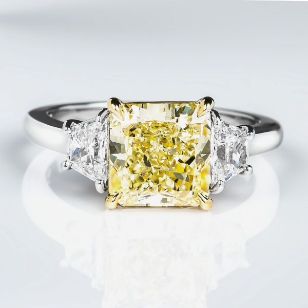 Radiant 3 Stone Fancy Yellow Diamond Engagement Ring, 3.63 t.w, VS1