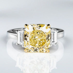 3 Stone Fancy Yellow Diamond Engagement Ring, 4.77 ctw