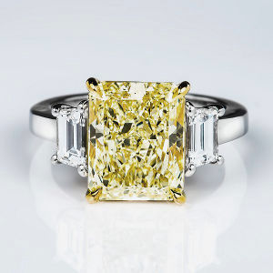 3 Stone Y-Z Diamond Engagement Ring, 6.01 ctw