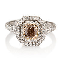 Double Halo Fancy Pink Brown Diamond Engagement Ring, 0.96 ctw