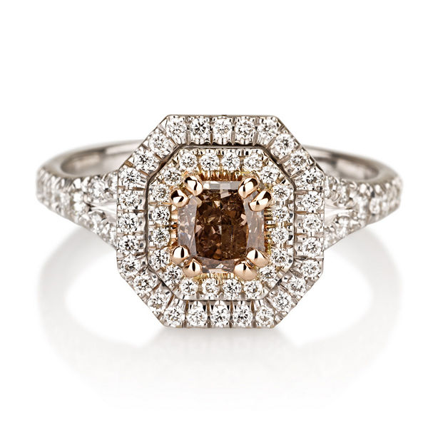 Fancy Pink Brown Diamond Ring, Radiant, 0.60 carat